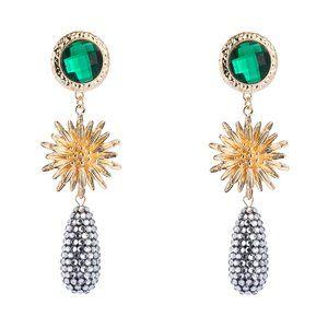 Jewelry - Sunflower, Green Rhinestone & Disco Drop Earrings